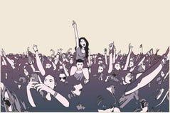 Illustration av dansfestivalfolkmassan stock illustrationer