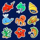 Illustration av de olika havsvarelserna Royaltyfria Foton
