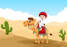 Illustration av den arabiska pojken som rider en kamel i öknen royaltyfri illustrationer