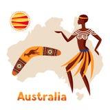 Illustration av den Australien översikten med den kvinnaaboriginer och bumerangen stock illustrationer