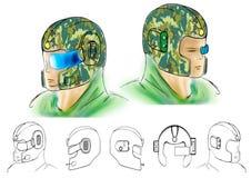 Illustration av den begreppsmässiga framtida hjälmen Stock Illustrationer