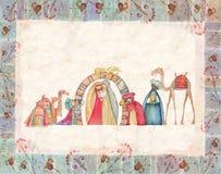 Illustration av den Christian Christmas Nativity platsen med de tre kloka männen Arkivbild