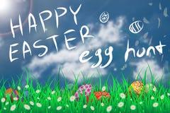 Illustration av den easter dagen ett ägg på den blommande blomman för grönt gräs med blå himmel, jakten för ägg för handattraktio Royaltyfri Fotografi