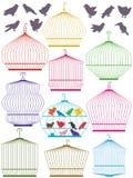 Färgrik fågelbur Set_eps vektor illustrationer