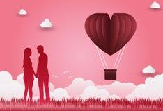 Illustration av den förälskelse- och för valentin` s dagen, stående hand - in - hand, Fotografering för Bildbyråer