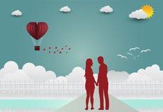 Illustration av den förälskelse- och för valentin` s dagen, stående hand - in - hand, Arkivfoton