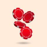 Illustration av den fallande röda pokerkasinot Chips Isolated på vit Arkivfoto