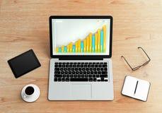 Illustration av den finansiella grafen på bärbara datorn Royaltyfri Fotografi