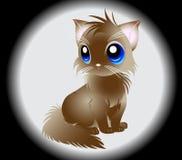 Illustration av den fluffiga vita katten Royaltyfria Bilder