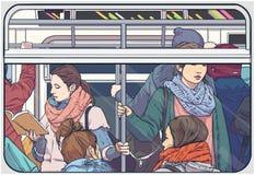 Illustration av den fullsatta bilen för tunnelbanagångtunnelpassagerare vektor illustrationer
