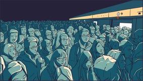 Illustration av den fullsatta tunnelbanan, gångtunnelstation Folk som stiger ombord vagnen i rusningstid vektor illustrationer