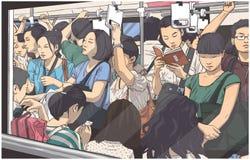 Illustration av den fullsatta tunnelbanan, gångtunnelvagn i rusningstid vektor illustrationer