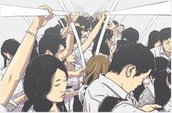 Illustration av den fullsatta tunnelbanan, gångtunnelvagn i rusningstid stock illustrationer