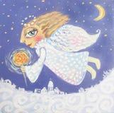 Illustration av den gulliga lilla julängeln med tomteblosset Hand målad julbild Fotografering för Bildbyråer