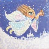 Illustration av den gulliga lilla julängeln med trumpeten Hand målad julbild Arkivbilder
