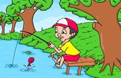 Illustration av den gulliga pojken som fiskar den handdrawn tecknade filmen arkivbild