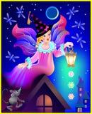 Illustration av den härliga fen som drömmer i nattetiden Arkivbild