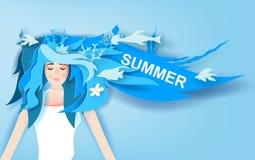 Illustration av den härliga flickan med lång tur för hårklädersommar med djupblå garnering för marin- liv gulligt st?endekvinnaba stock illustrationer
