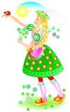 Illustration av den härliga flickan med nyckelpigan på hennes hand vektor illustrationer