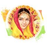Illustration av den härliga indiska unga kvinnan Avbilda i medborgaren som är tricolor för indisk självständighetsdagenberöm fotografering för bildbyråer