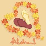 Illustration av hawaiansk blommagirland och flip f stock illustrationer