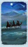 Illustration av den heliga familjen och tre konungar Royaltyfri Bild