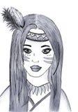 Illustration av den indiska flickan i svartvitt Arkivbilder
