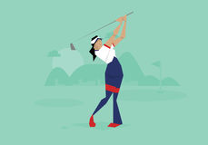 Illustration av den kvinnliga golfaren som konkurrerar i händelse Royaltyfri Fotografi