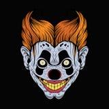Illustration av den läskiga röda clownen Arkivbild