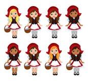 Illustration av den lilla röda ridninghuven Stor mångkulturell uppsättning Royaltyfria Bilder