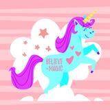 illustration av den lyckliga enhörningen Royaltyfria Bilder