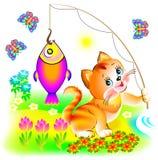 Illustration av den lyckliga katten som har fångat fisken royaltyfri illustrationer