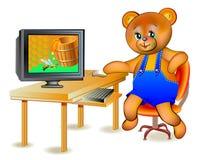Illustration av den lyckliga nallebjörnen som ser honung i dator Royaltyfria Bilder