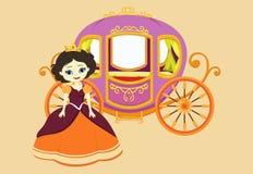 Illustration av den lyckliga prinsessan med den kungliga vagnen Arkivbild