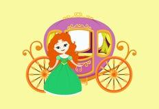 Illustration av den lyckliga prinsessan med den kungliga vagnen Royaltyfri Foto