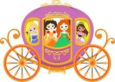 Illustration av den lyckliga prinsessan med den kungliga vagnen Royaltyfria Bilder