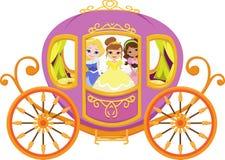 Illustration av den lyckliga prinsessan med den kungliga vagnen Royaltyfri Fotografi
