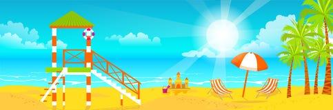 Illustration av den lyckliga soliga sommardagen på stranden Livräddaretorn på ön med den ljusa solen, palmträd i plan stil Royaltyfri Fotografi
