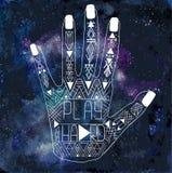 Illustration av den mänskliga handen med den Aztec modellen Arkivfoton
