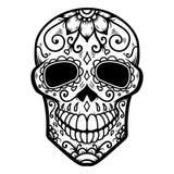 Illustration av den mexikanska sockerskallen död dag de diameter los muertos Planlägg beståndsdelen för logoen, etiketten, emblem stock illustrationer