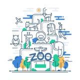 Illustration av den moderna linjen lägenhetdesignzoo Arkivbild