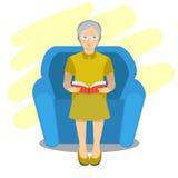 Illustration av den mormor lästa boken på stol Royaltyfri Illustrationer