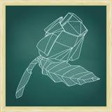 Illustration av den röda rosblomman för abstrakt origami Arkivfoton