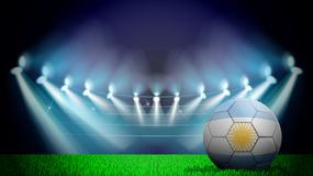 illustration av den realistiska fotbollbollen som målas i nationsflaggan av Argentina på tänd stadion Vektorn kan användas in royaltyfri illustrationer