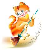 Illustration av den roliga kattungen som sopar golvet vektor illustrationer
