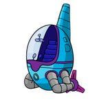 Illustration av den roliga ufon för tecknad film, rymdskepp också vektor för coreldrawillustration Arkivbilder