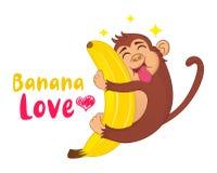 Illustration av den roliga vektortecknad filmapan som kramar en banan med hans tunga som ut hänger Ð-¡ oncept av det hungriga dju royaltyfri illustrationer
