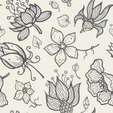 Illustration av den sömlösa hand-drog blom- modellen Arkivbild