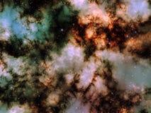 Illustration av den spase-, nebulosa- och stjärnaklungan Stock Illustrationer