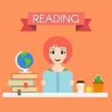 Illustration av den unga stiliga kvinnan som läser en bok Arkivfoton